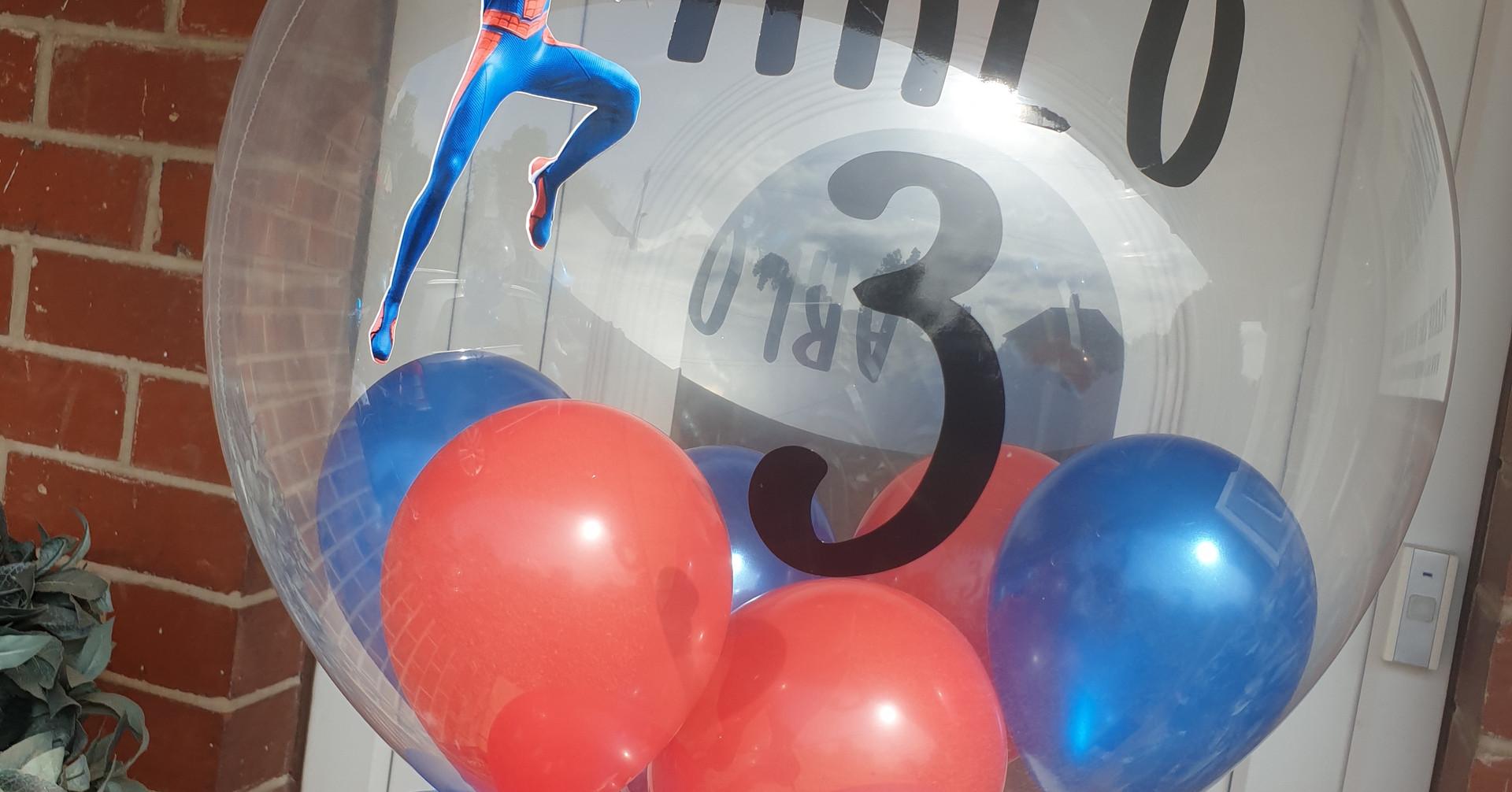 Spiderman birthday bubble balloon