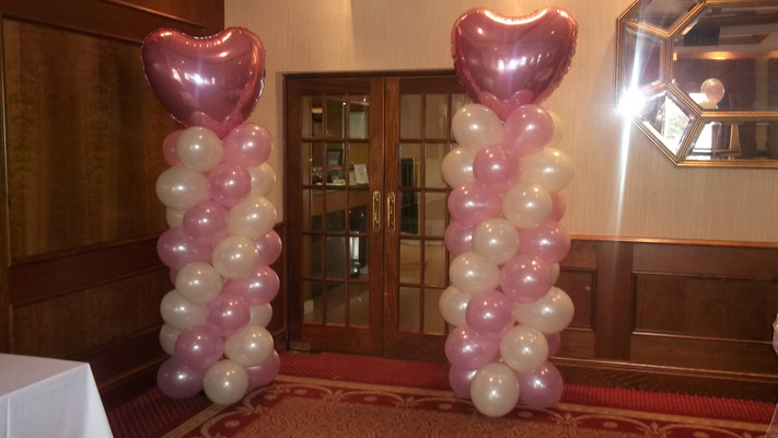 Ivory & Baby Pink Columns with Pink Jumbo Hearty Foil Toppers