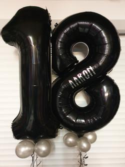 Black 18 With Silver Mini Balloons & Vinyl