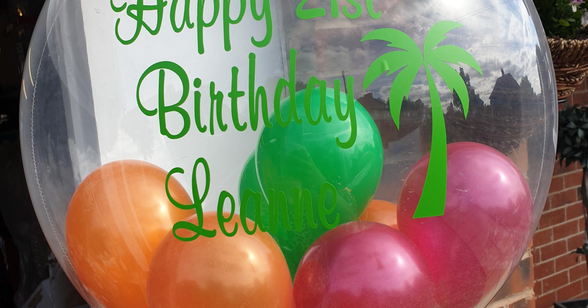 Tropical birthday bubble balloon