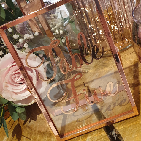 Rose Gold Glass Table Name/Number Frame