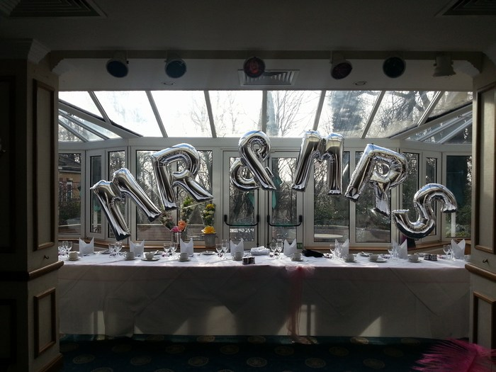 Silver Foil Letter Balloon Arch