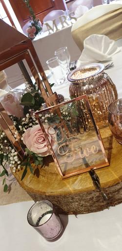 Rose Gold Vinyl Glass Table Number