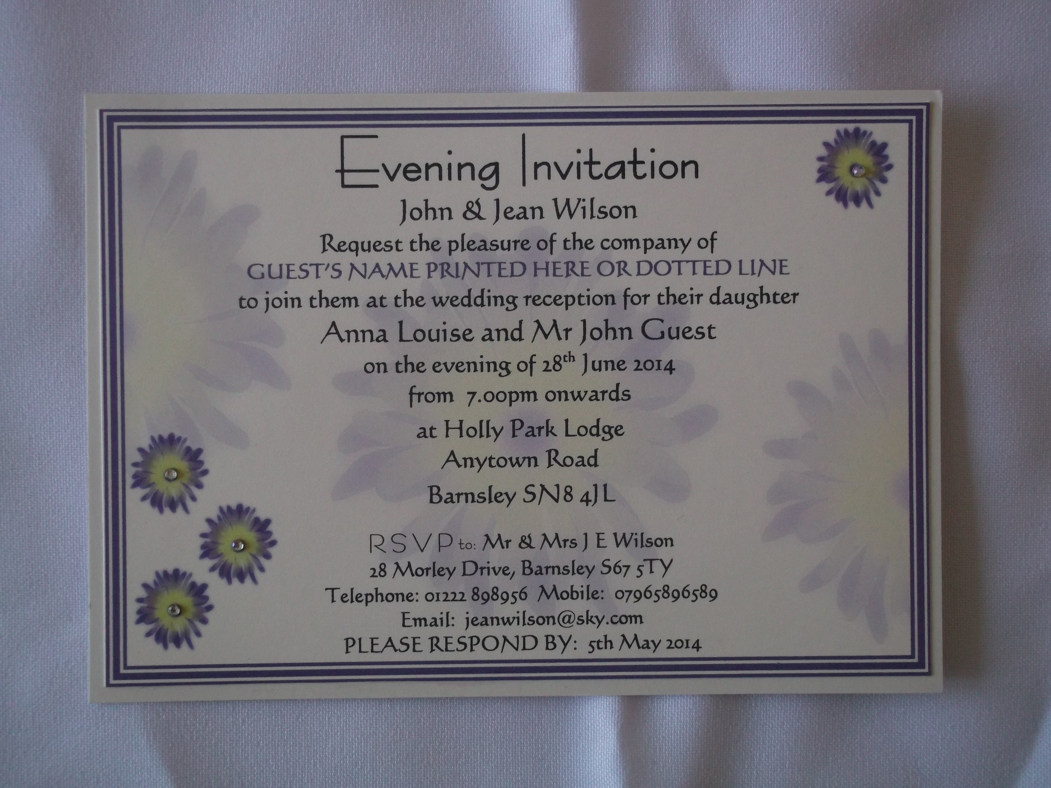 Gerbera Groove Evening invitation