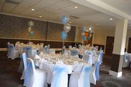 Christening Balloon Trios & Chair Covers with Blue Sash