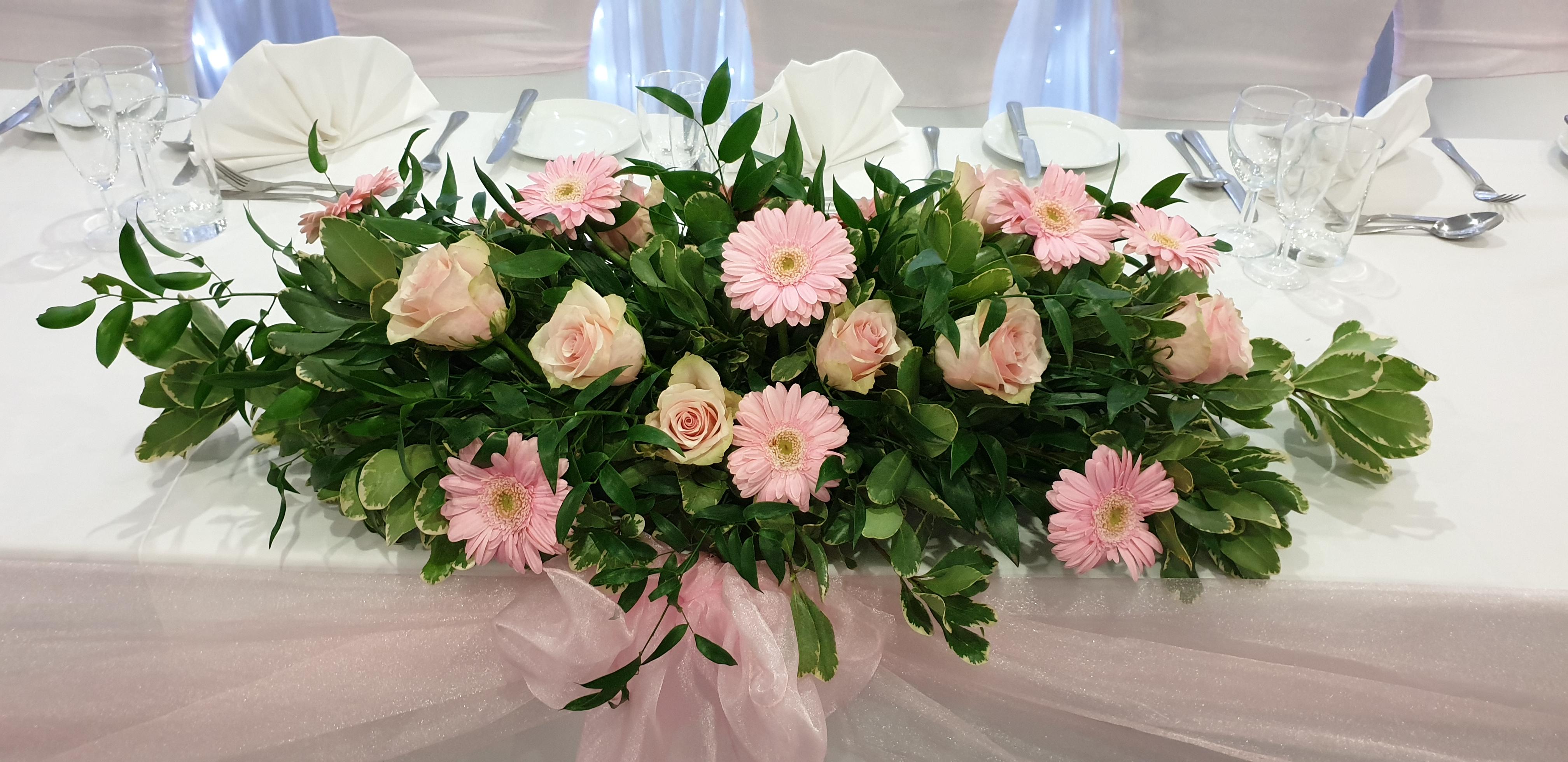 Fresh pale pink rose & gerbera top table decoration