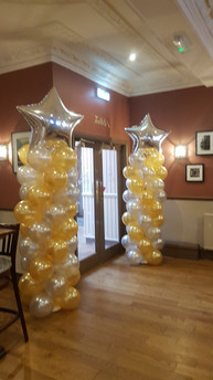 Silver & Gold Large Column with Silver Star Jumbo Toppers
