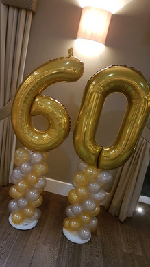60th Birthday Foil Nuimber Topped Mini Gold & Silver Column