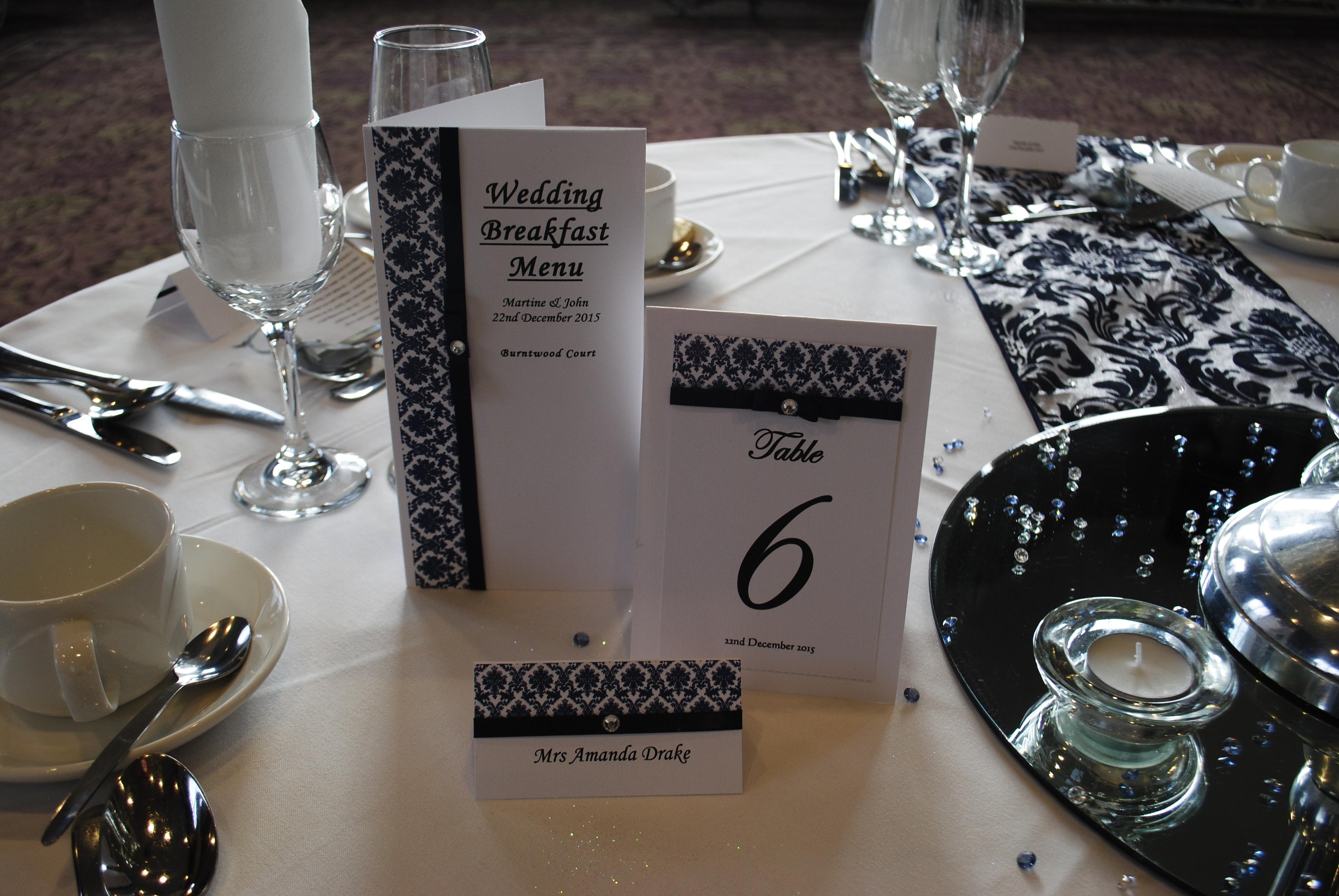 Menu, table number name card