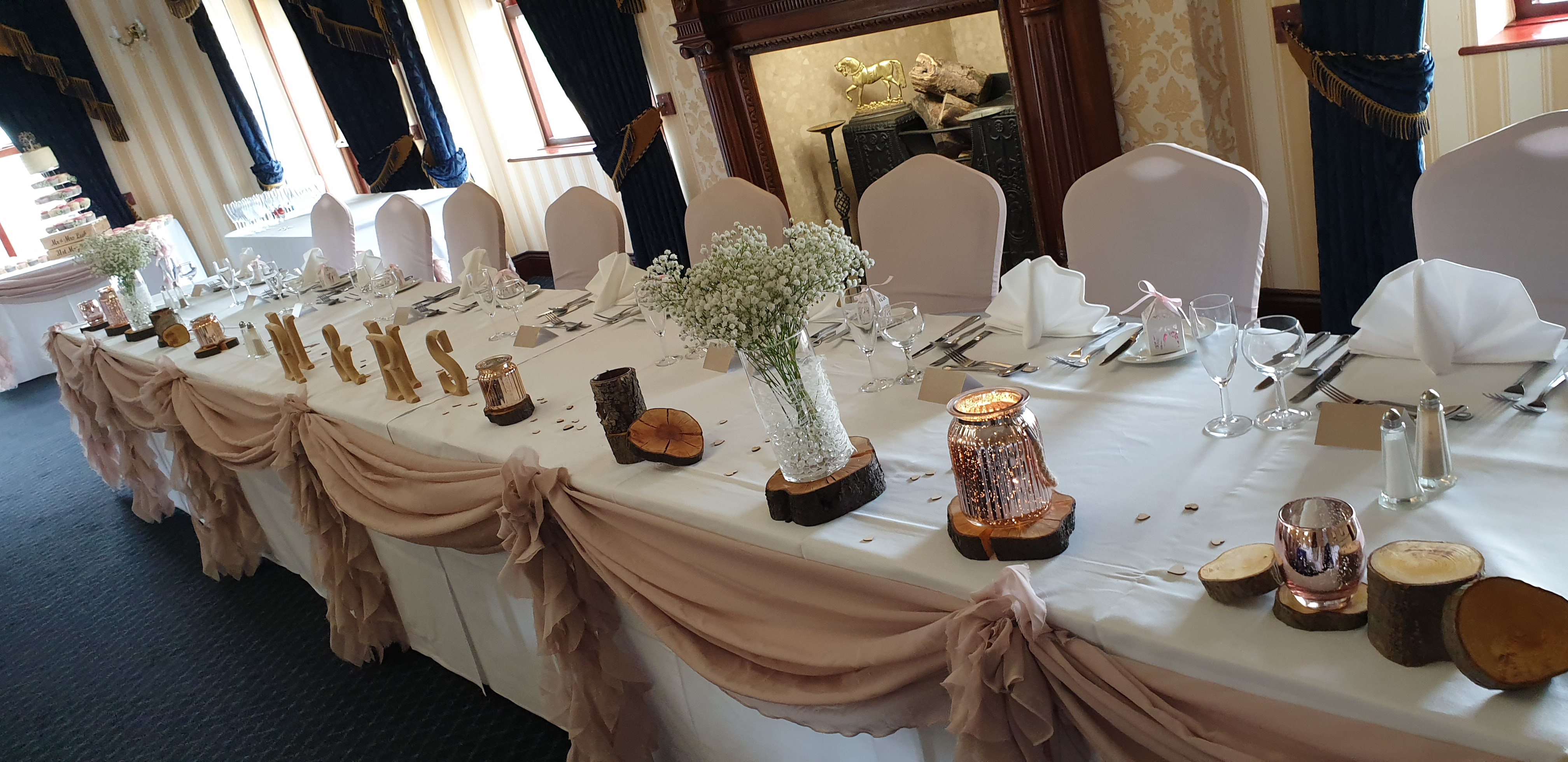 Fresh gyp with rustic 7 rose gold scatter vases