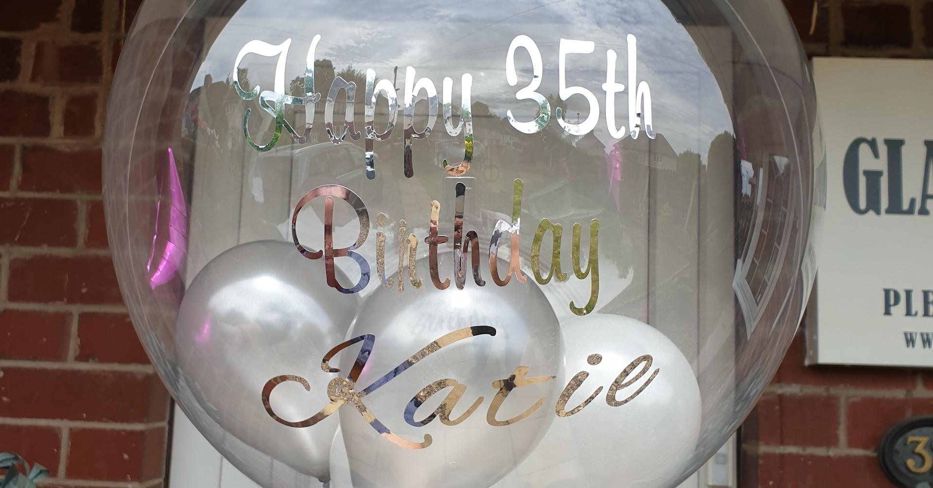 Silver & white birthday bubble balloon