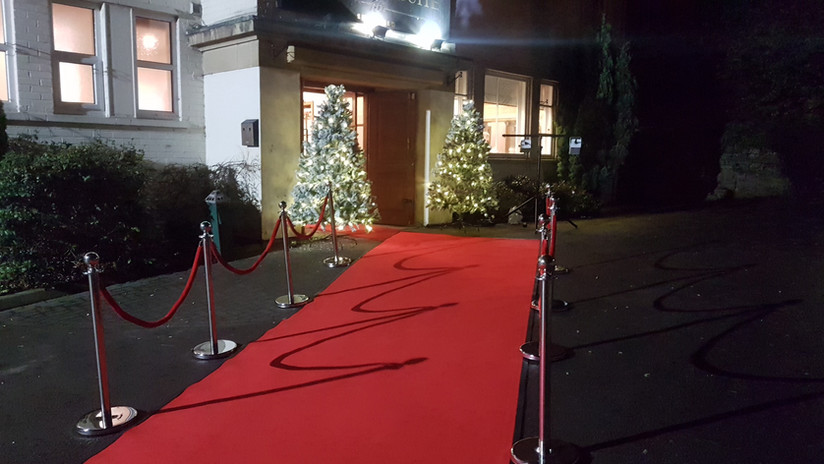 Red Carpet, VIP Poles & Pre-lit Christmas Trees