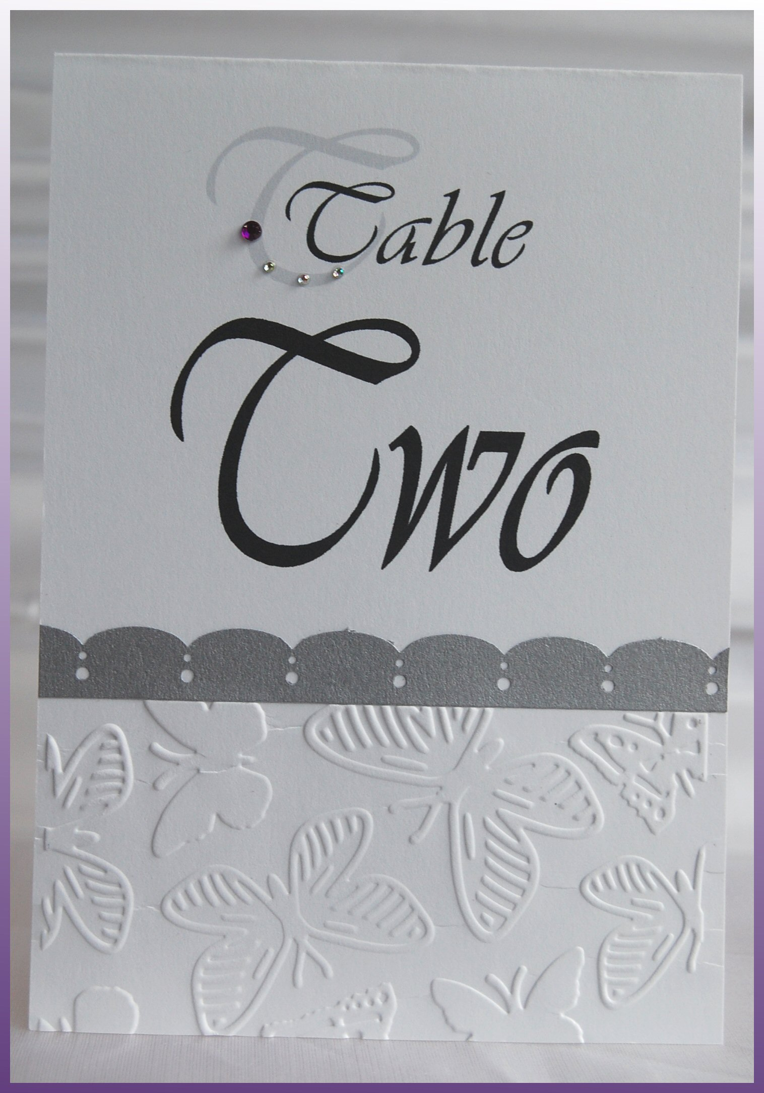 Embossed Butterfly Table Number