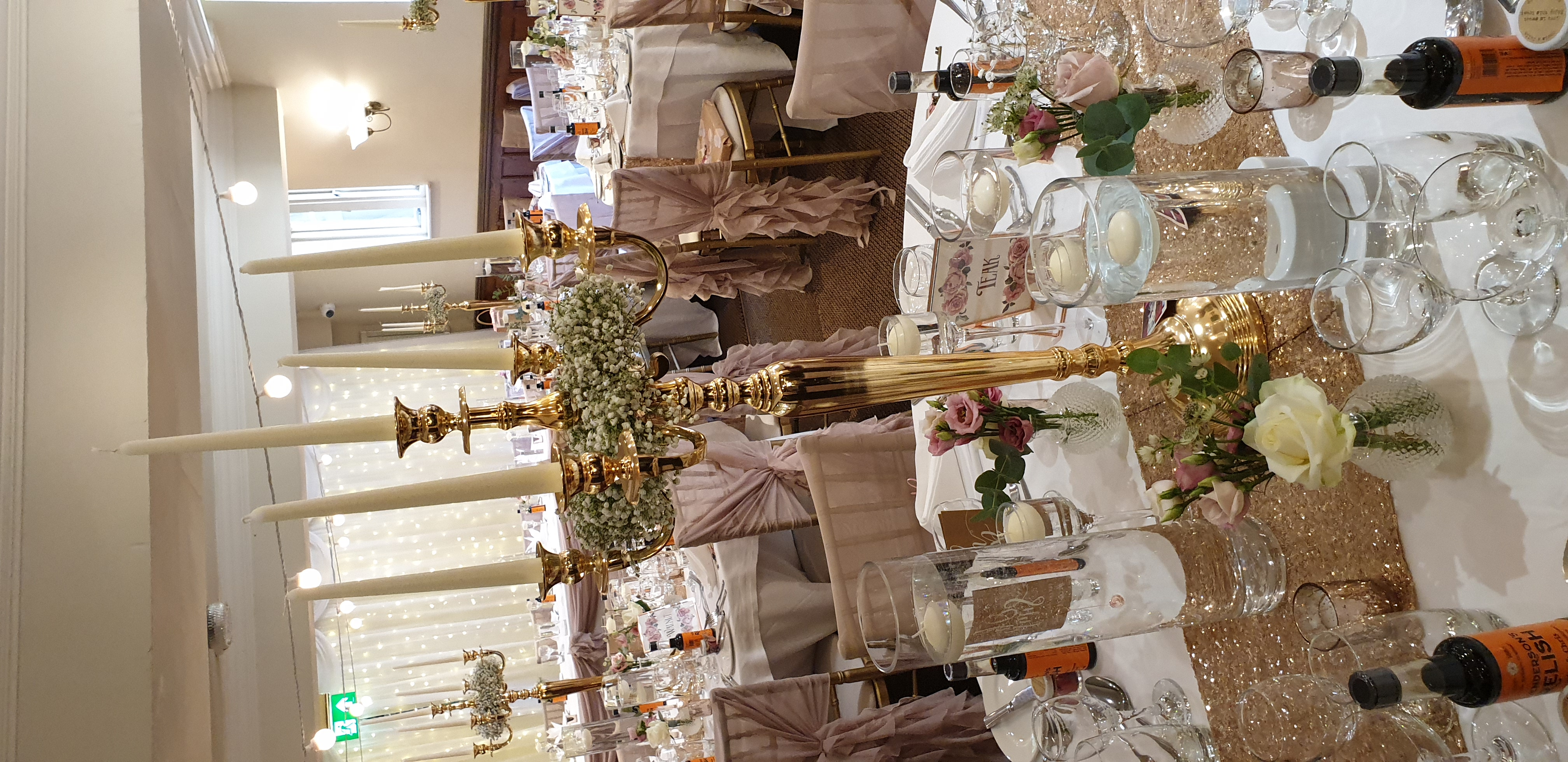Gold Candelabra with gyp fresh rings