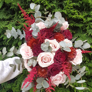 Fresh astilbe, dahalia & rose bridal bouquet