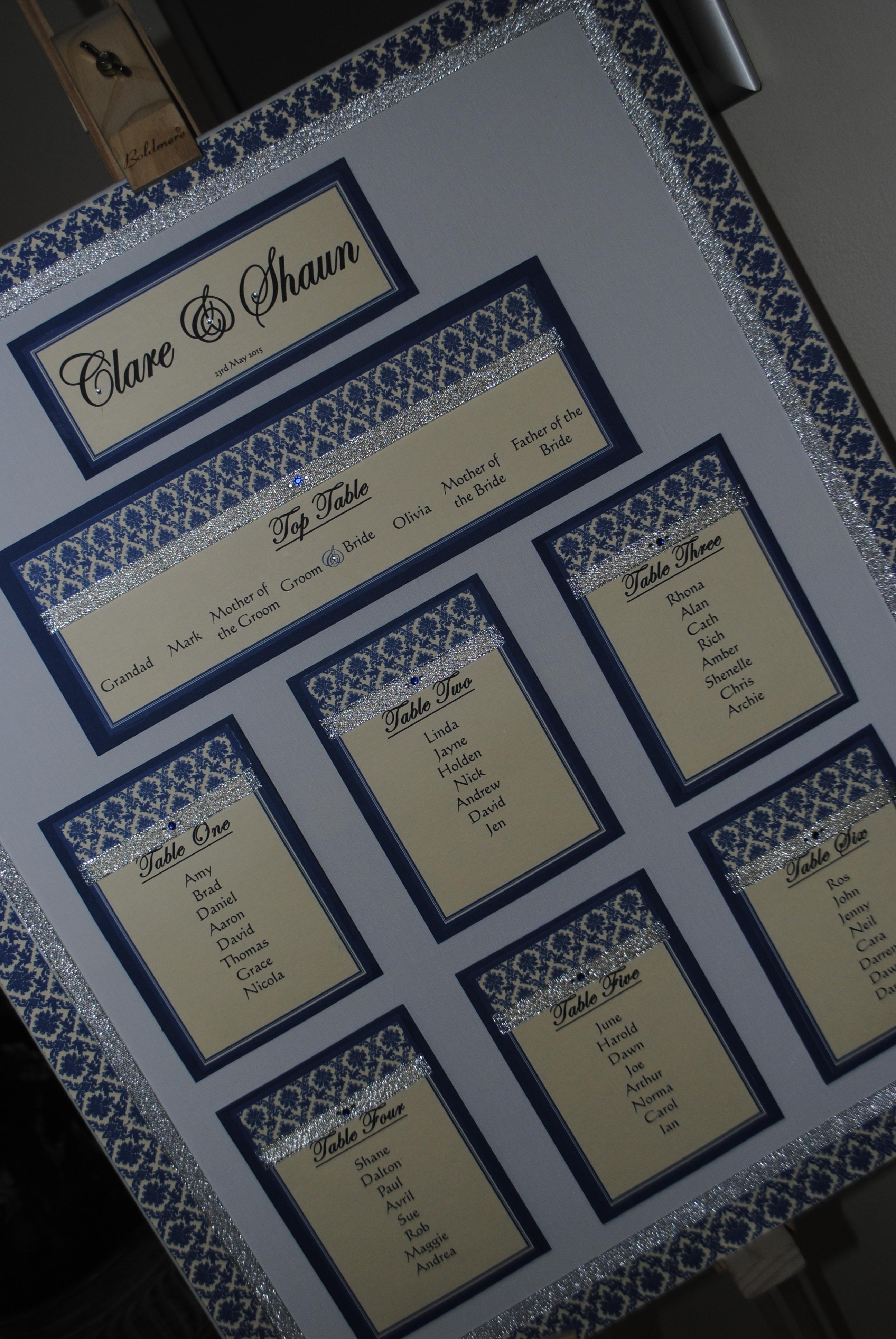 Table plan - silver glitter ribbon