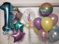 Tiffany Blue 1 With Name & Pastel Mini Balloons