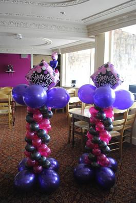 Birthday Girl Topper on Cadbury & Hot Pink Mini Columns