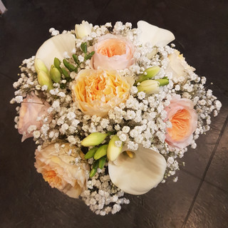 Fresh David Austin & Calla Lily bridal bouquet