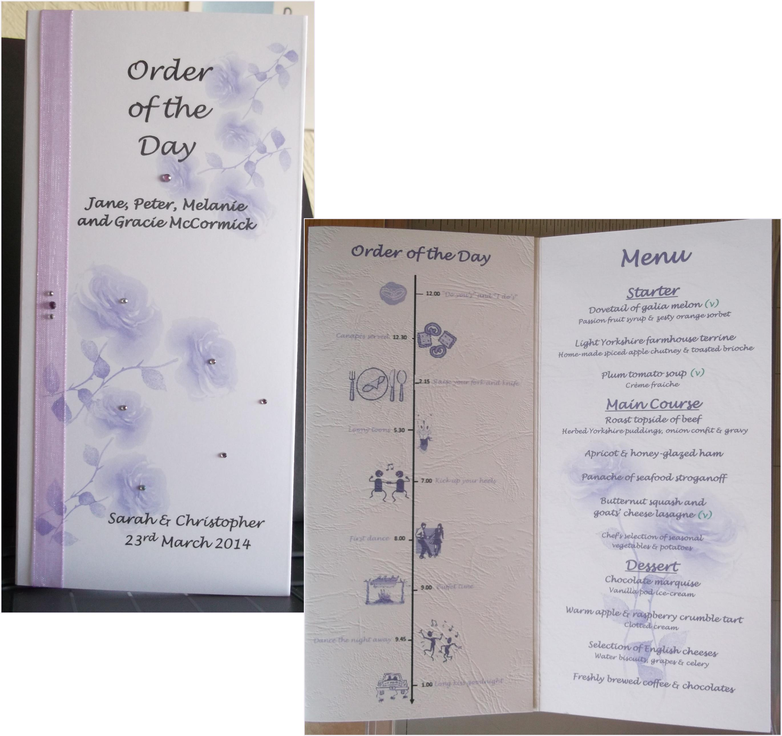 Bloom Order of the Day with Menu