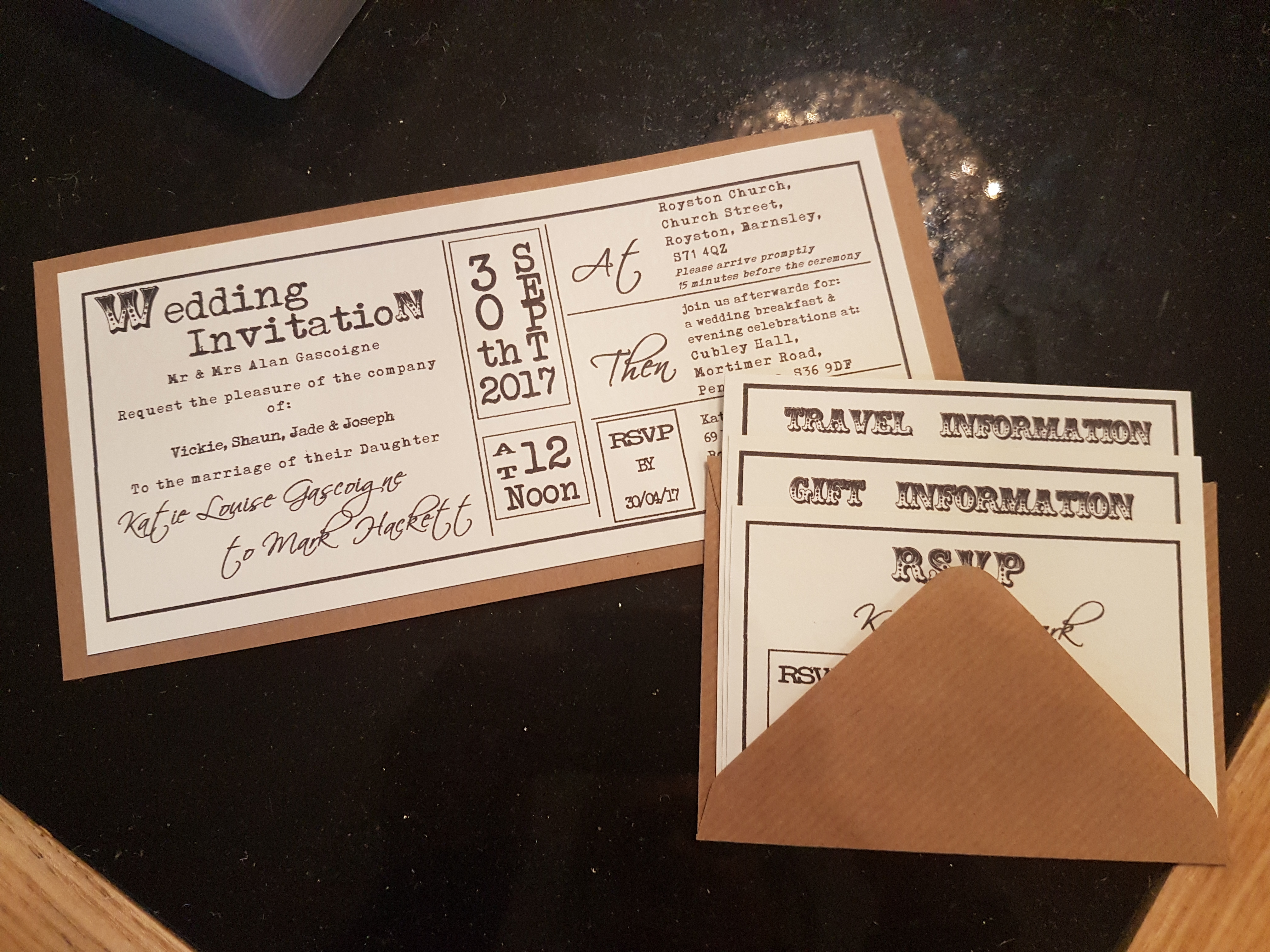 Rustic DL Invitation with inserts