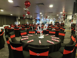 Black Chair Covers With Red Band
