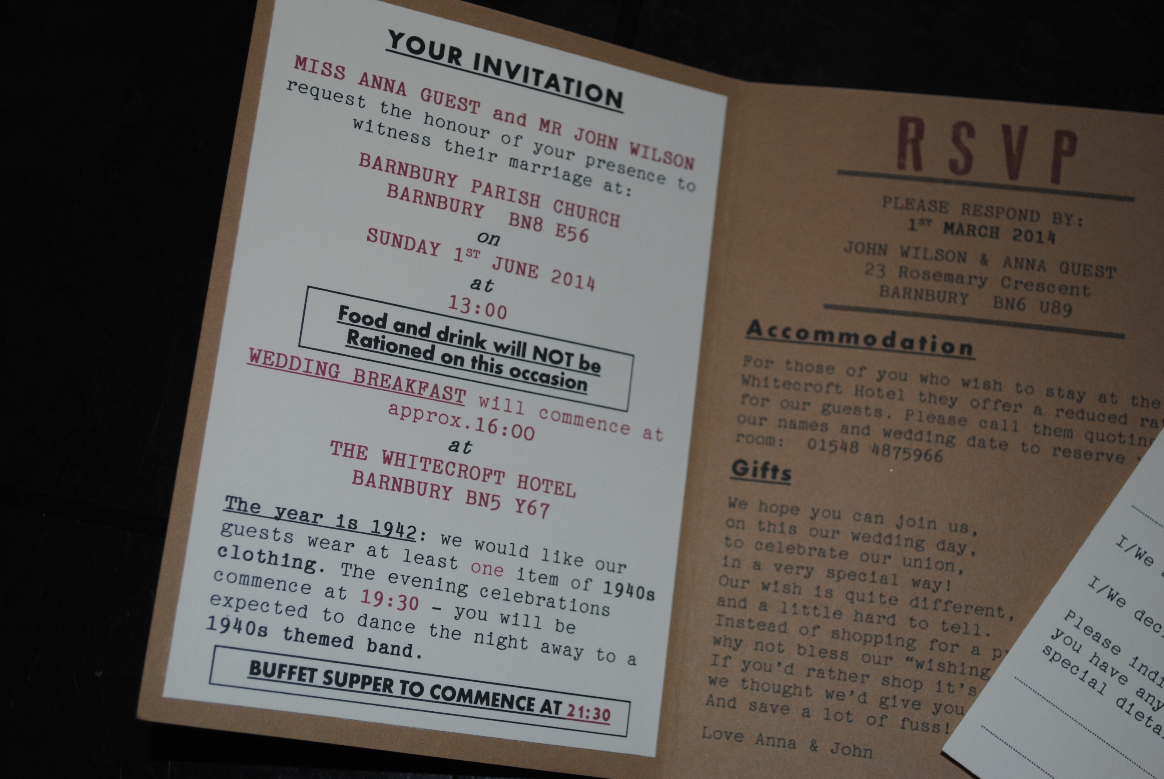 Ration Book Day Invite inside