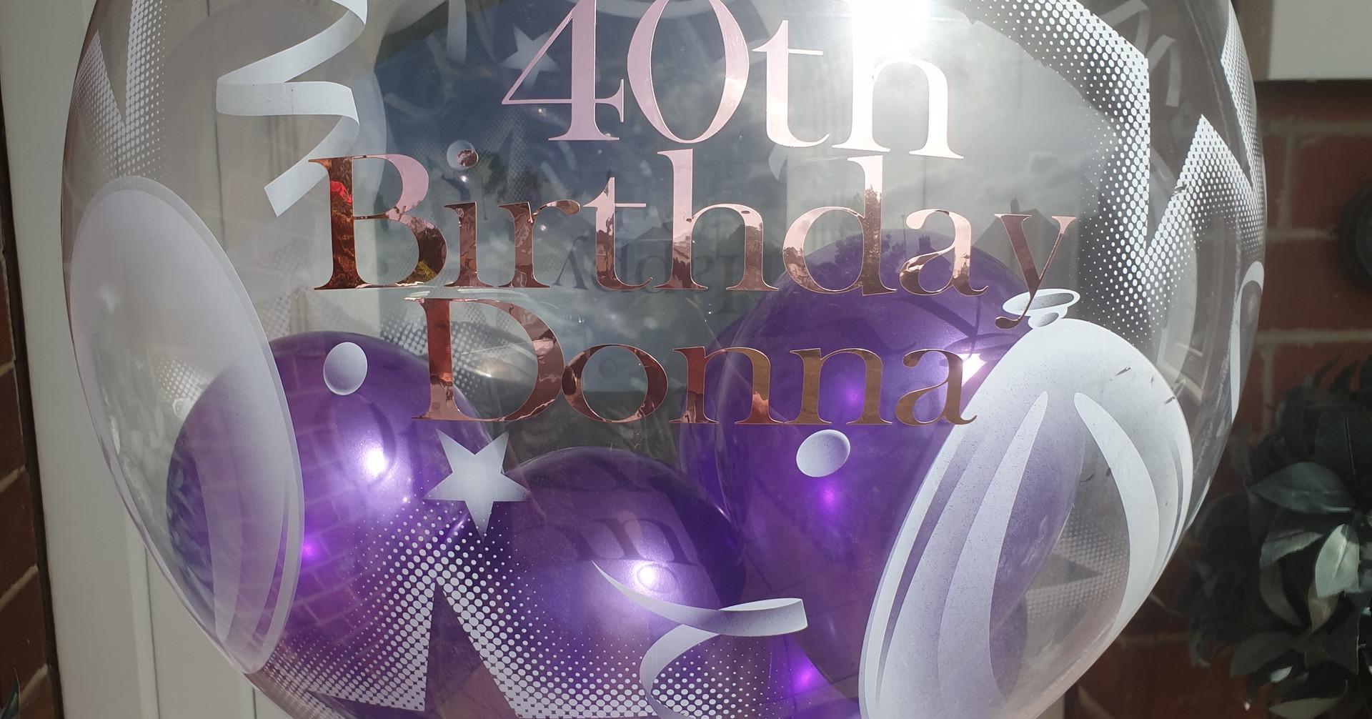 Star & balloon print purple birthday bubble