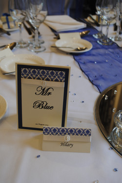 Damask Table Number & Name Card