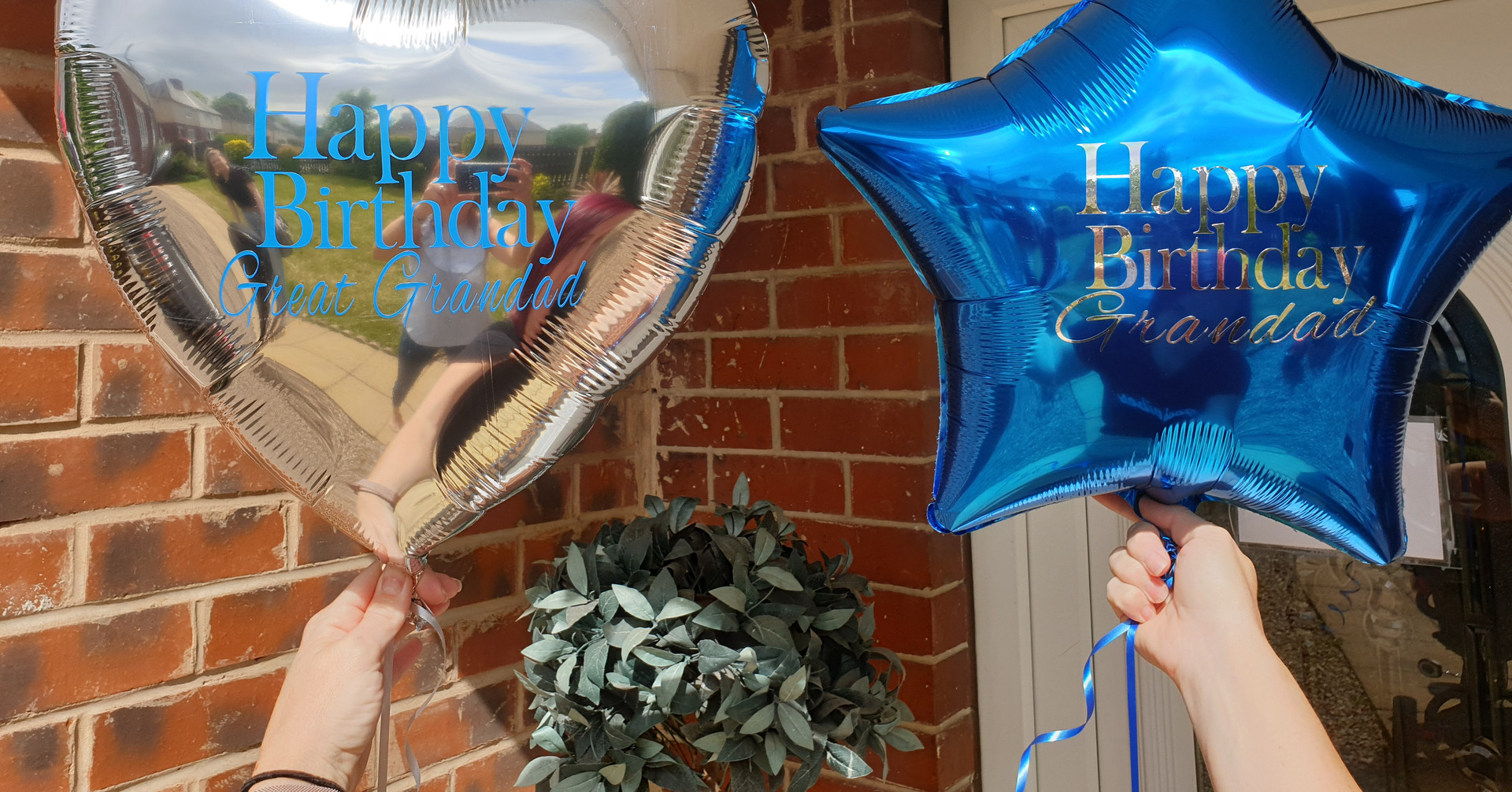 Silver heart & blue star foil balloon