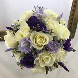 Artificial ivory & lilac rose bridal bouquet