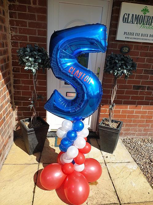 Foil Balloon Number on Column