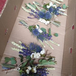Dried Wheatgrass, Feather & Fresh Thistle Buttonhole