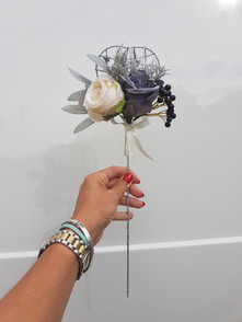 Artificial grey & ivory rose with berry wand