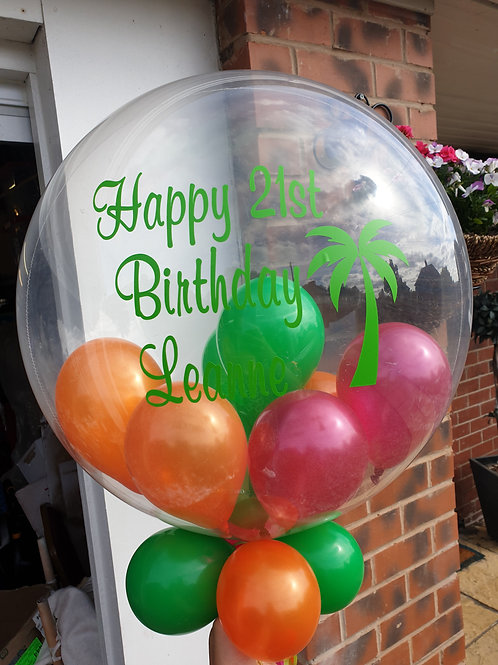 Palm Tree Tropical Bubble Balloon filled with mini balloons