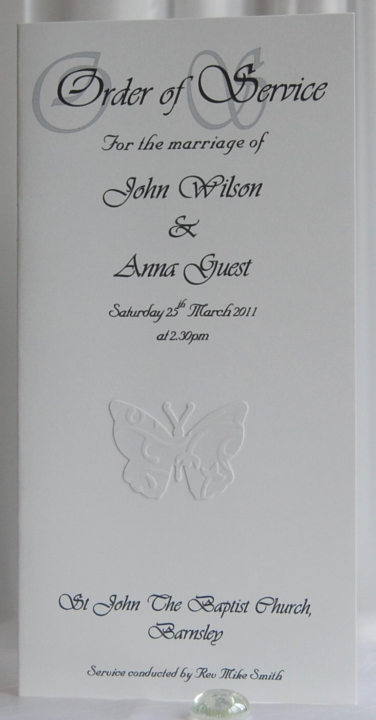 Embossed Butterfly Order of Service