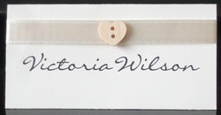 Wooden Heart Button Name Card
