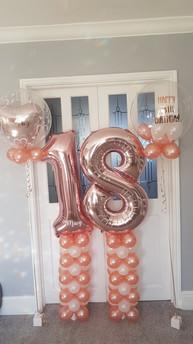 18th Birthday Rose Gold Mini Columns