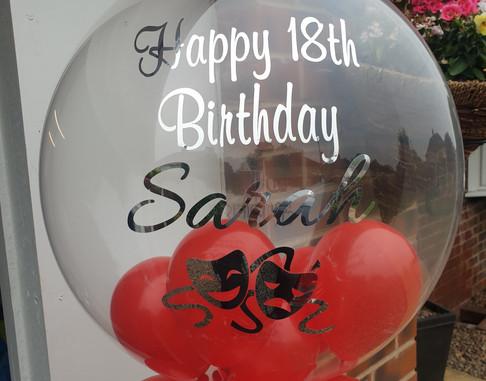 Theatre red birthday bubble balloon