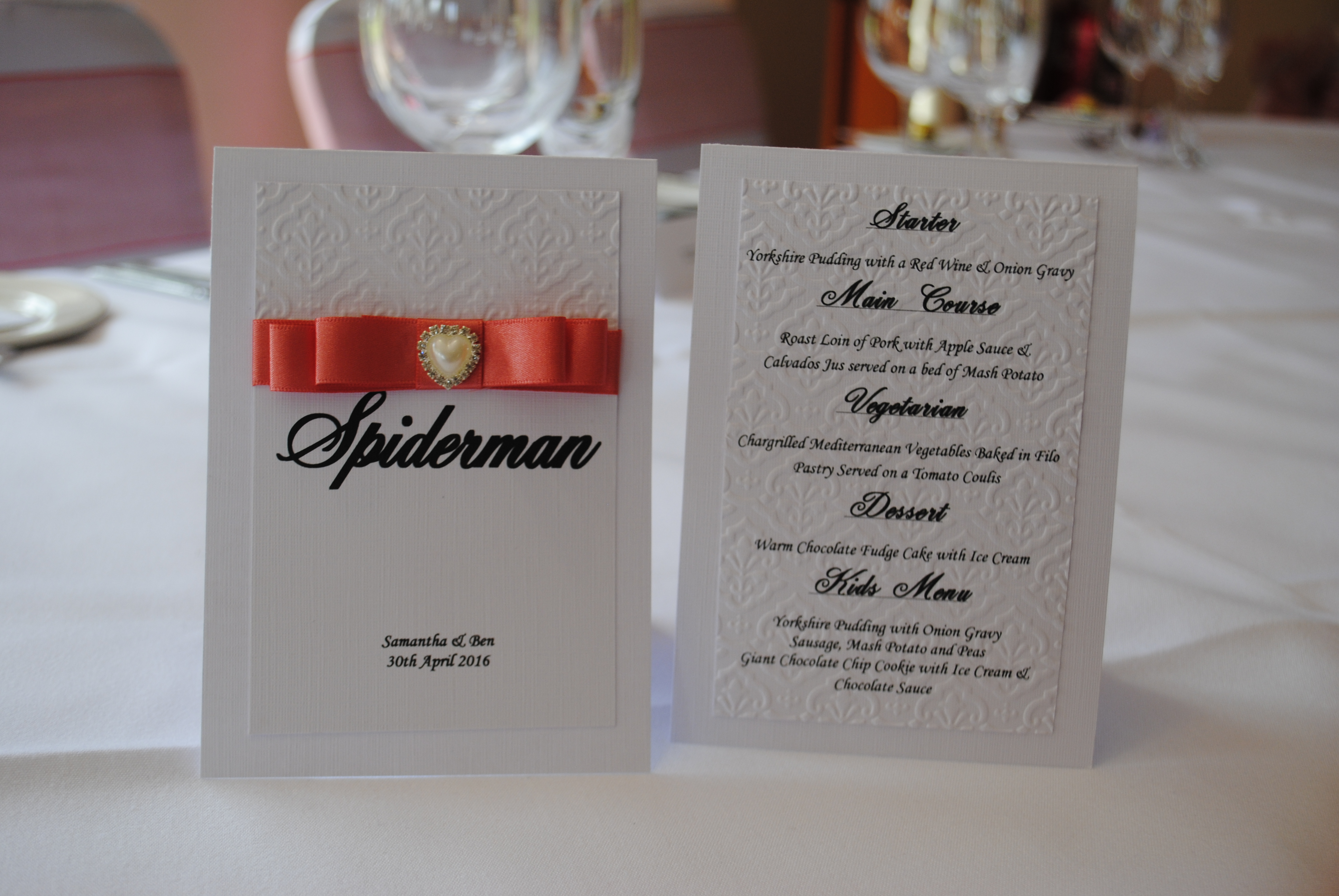 Dior Bow Table Number with Menu