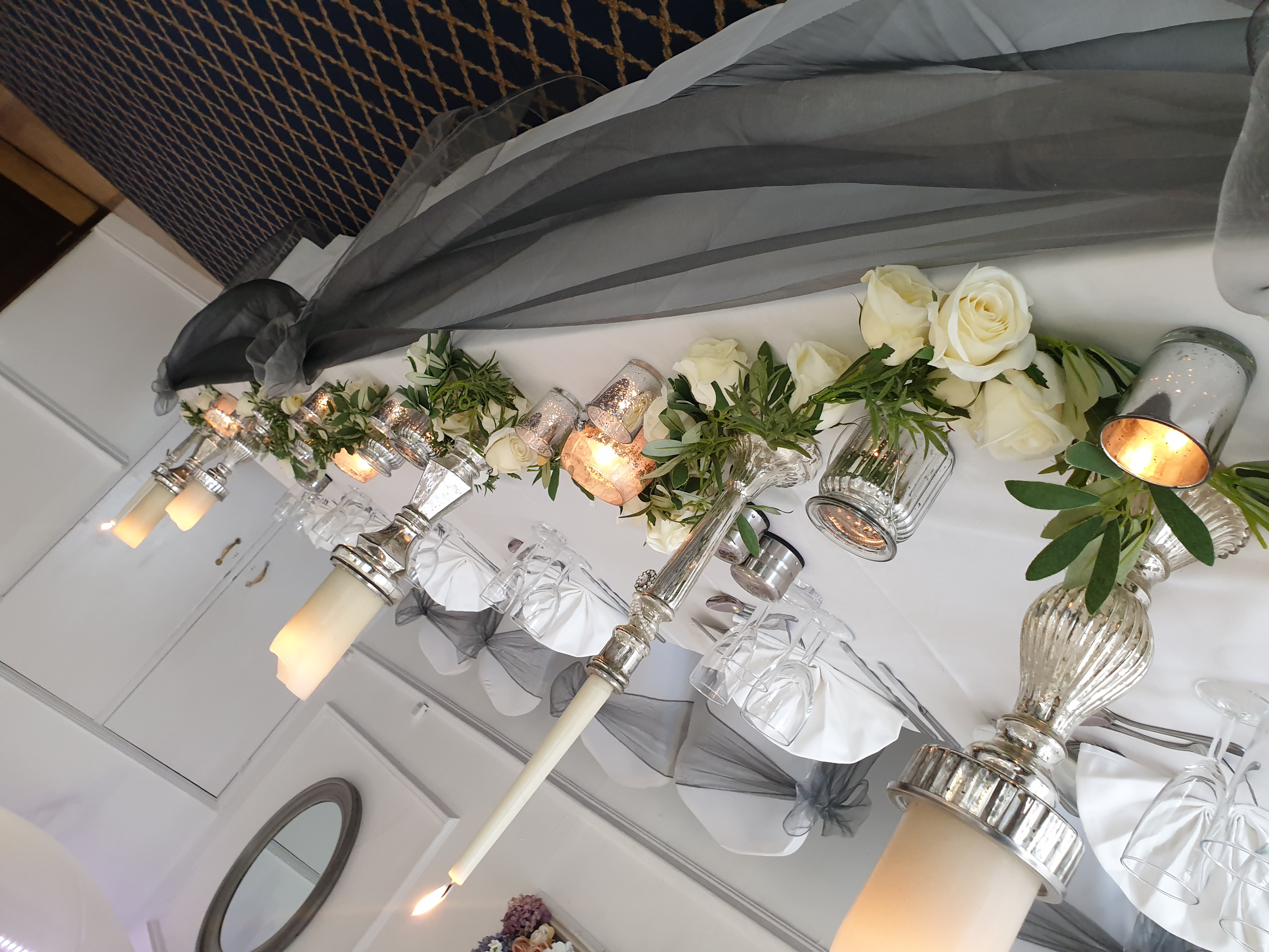 Silver mercury glass with garlands