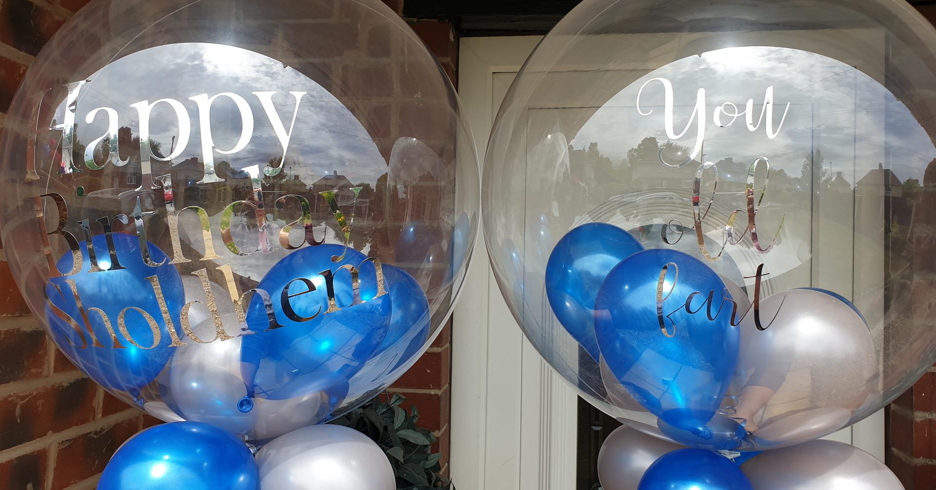 Blue & silver birthday bubble balloon