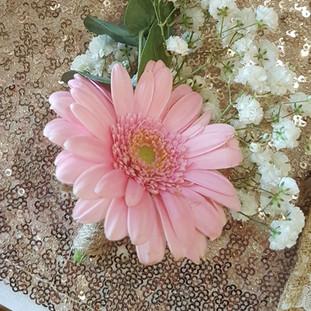 Fresh pink gerbera & gyp buttohole