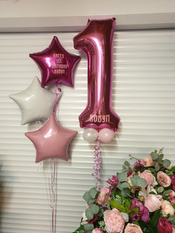 Hot Pink 1 With Baby Pink & White Mini Balloons