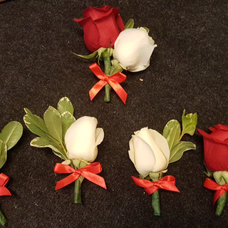 Fresh Red & Ivory Rose Buttonholes