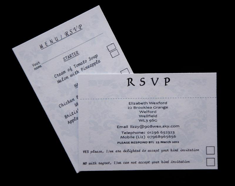 RSVP inserts for pocket fold invite