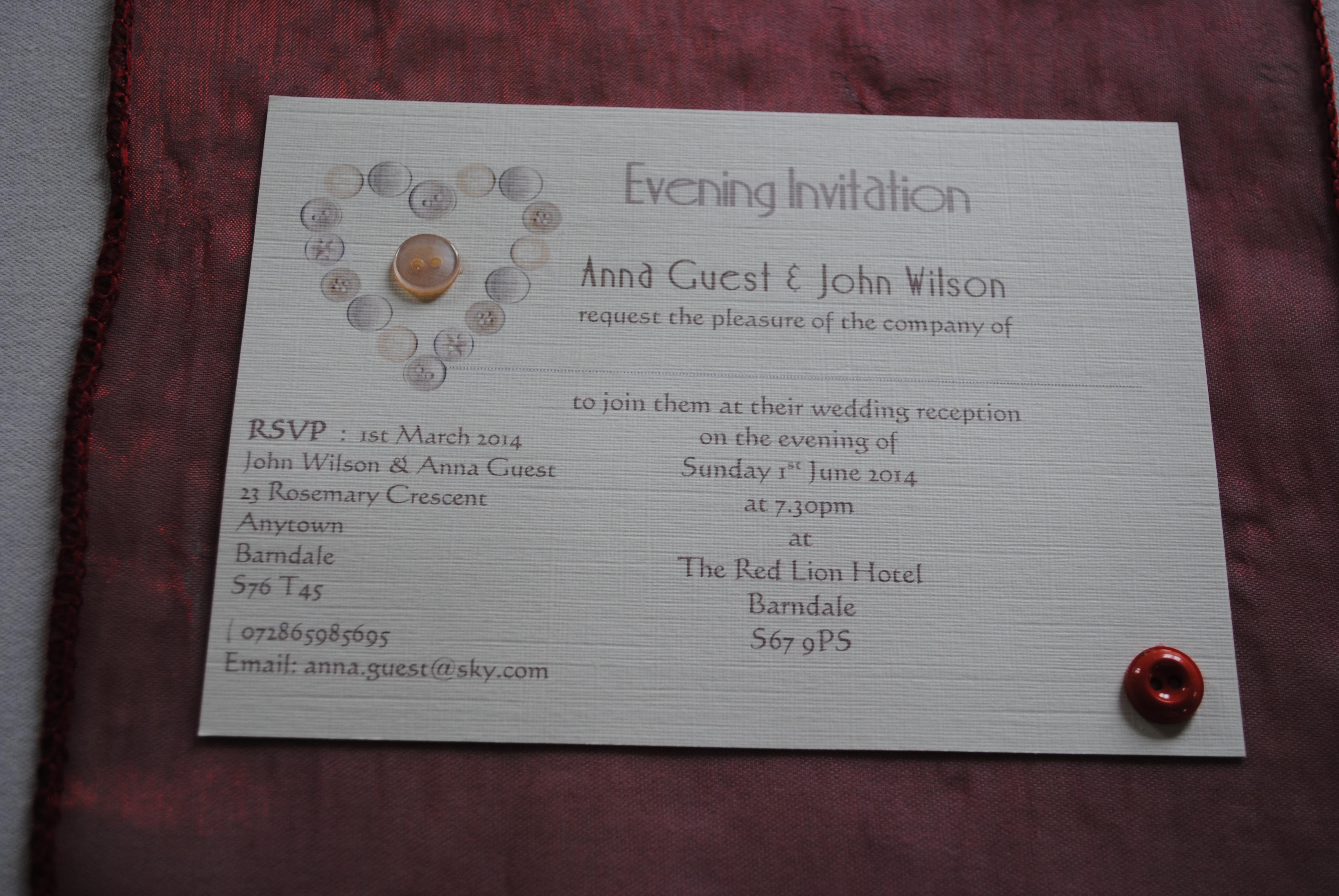 Beau Button Postcard Invitation