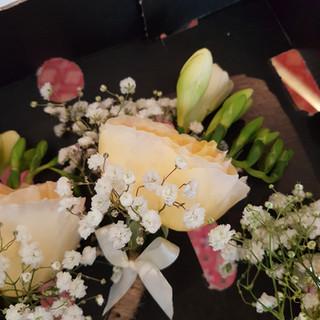 Fresh David austin & freesia buttonhole