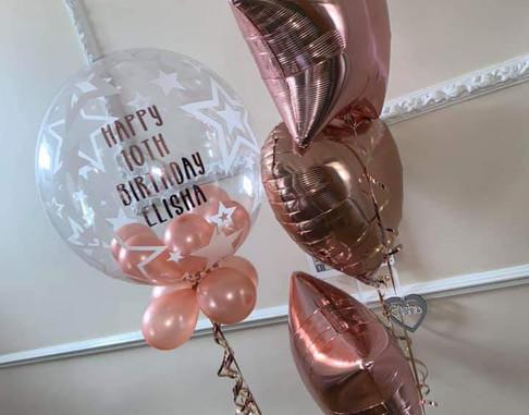 Star print rose gold birthday bubble balloon