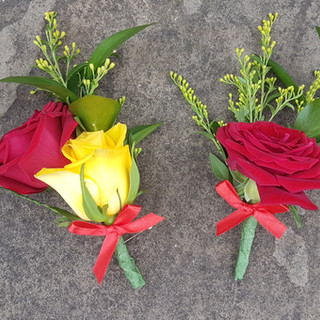Fresh Red & Yellow Rose Buttonholes